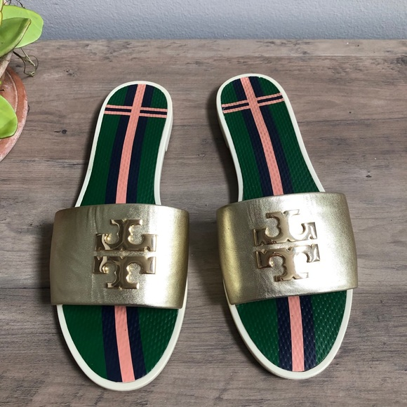 Tory Burch Logo Gold Leather Slide Sandals
